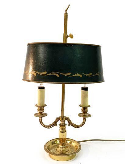 Lampe bouillotte En bronze doré et tôle peinte,...