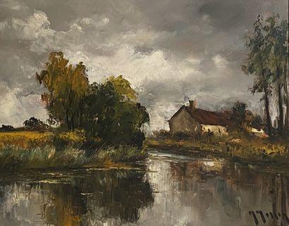 Lake landscape Oil on canvas signed lower right H_45cm L_54cm