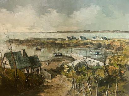 Louis Henry Lemirre (FRENCH, 1929-2000) Breton Landscape Oil on canvas signed lower...