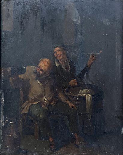 Ecole du Nord, XVIIIe siècle Les fumeurs de pipe Huile sur panneau H_23 cm L_18...