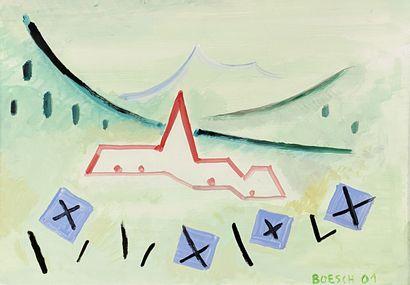 Deux compositions Huiles sur isorel signées BOESCH et datées 2001 / 2002 en bas...