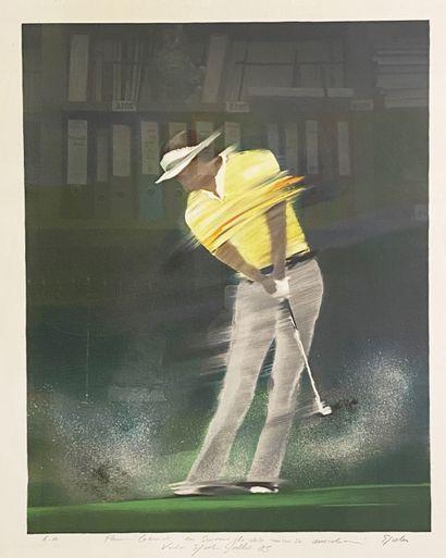 Le golfeur  Epreuve d'artiste signée en bas à droite, datée 85 et dédicacée en bas...