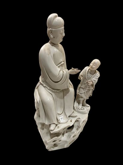 Chine - XVIIIe siècle. Groupe en porcelaine...