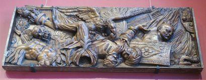 Buste d'homme en noyer sculpté en ronde-bosse. Tête coiffée d'une importante toque...