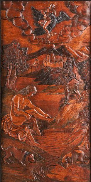 Panneau en marqueterie de bois indigènes...
