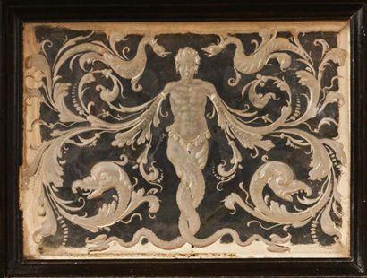 Coffret en placage d'ébène et d'ivoire, en laiton gravé et doré, cristal de roche...