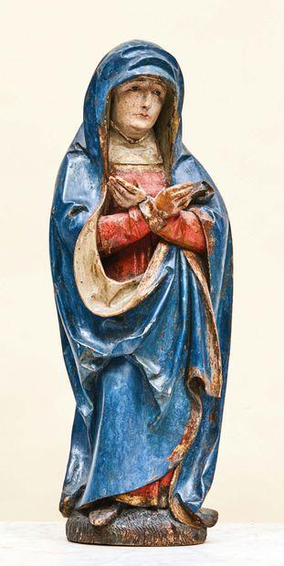 Vierge de Calvaire en bois de résineux sculpté,...