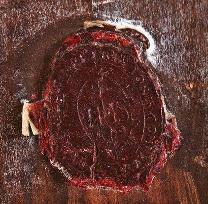 Tableau en laiton repoussé en fort relief avec traces d'argenture représentant la...