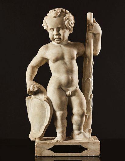 Hercule enfant en marbre sculpté, dos ébauché....