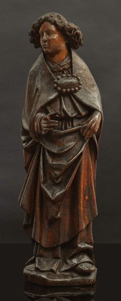Ange de l'Annonciation en chêne sculpté,...