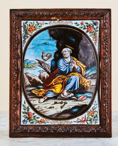 Grande plaque en émail peint polychrome avec...