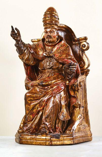 Pape (Alexandre VII ?) en bois sculpté, doré...
