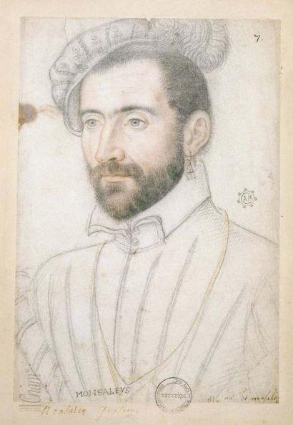 Plaque en émail peint polychrome avec rehauts d'or représentant en buste Jacques...