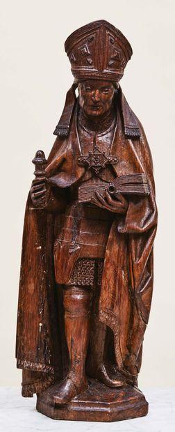 Saint Arnoul de Metz en chêne sculpté avec...