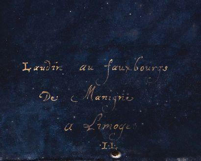 Grande plaque en émail peint polychrome avec rehauts d'or représentant saint Pierre...