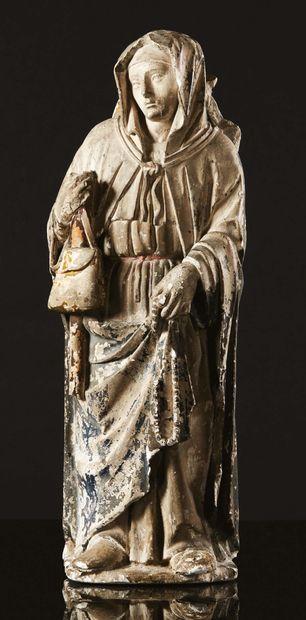 Sainte Syre en pierre calcaire sculptée avec...