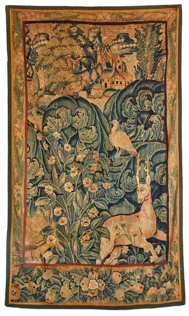 Fragment de tapisserie dite à feuilles de...