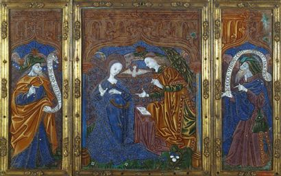 Flaps of a triptych in polychrome painted enamel with remains of gold highlights...