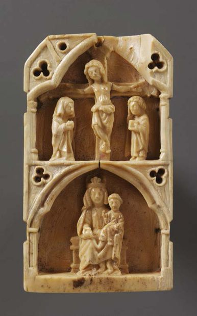 Deeply carved ivory plaque representing scenes from the New Testament. The six scenes...