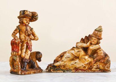 Couple de statuettes en albâtre sculpté en...