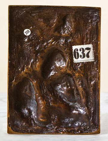 Plaque en bronze en fort relief à patine médaille représentant saint Jérôme pénitent...
