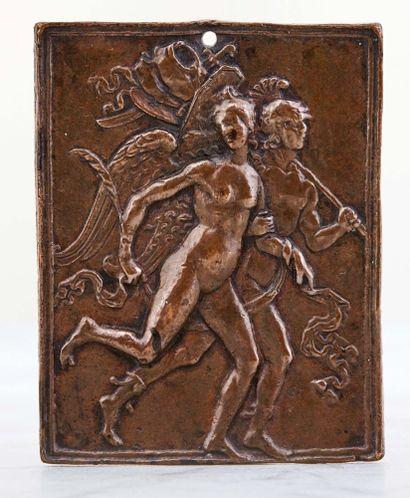 Plaquette en bronze à patine brun clair représentant...