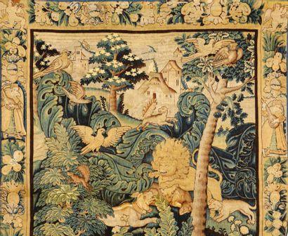 Fragment de tapisserie dite à feuilles de choux ou d'aristoloche en laine et soie....