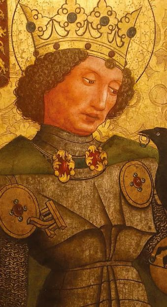 Oiseau de saint Osvald, reliquaire (?), en bronze doré. Projeté vers l'avant, l'oiseau...