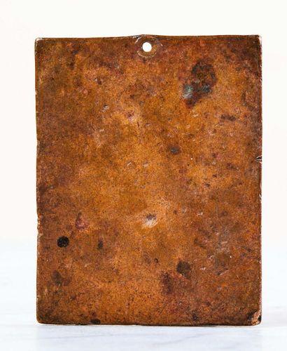 Plaquette en bronze à patine brun clair représentant Mars et la Victoire. Trou de...