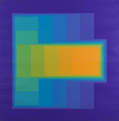Victor VASARELY (1906-1997) Composition sur fond mauve Lithographie. H_78,5 cm L_78,5...