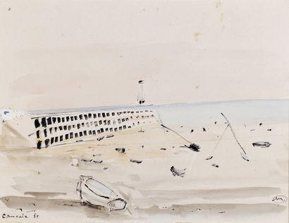 SAINT-MAUR (1906-1979) Plage, cancale, 1955 Aquarelle et gouache. Signée du monogramme...