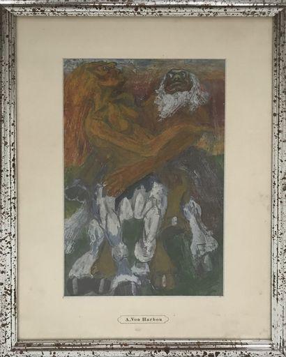Adolph von Harbou (1879–1939) Ensemble de trois peintures sur papier et de deux dessins....