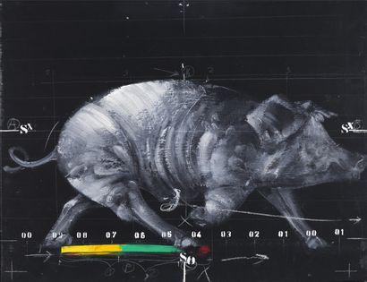 Vladimir Veličković (1935-2019) Animals in motion, N°1, 1972 Huile sur toile. Signée,...