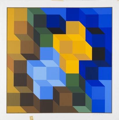 Victor VASARELY (1906-1997) Cubes Lithographie. Edition Denise René. H_64 cm L_64...