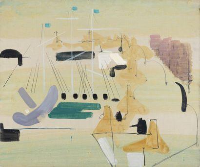 SAINT-MAUR (1906-1979) Composition sur fond jaune Huile sur toile. H_65 cm L_50 ...