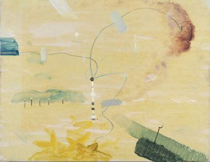 SAINT-MAUR (1906-1979) Composition sur fond créme Huile sur toile. H_65 cm L_54 ...