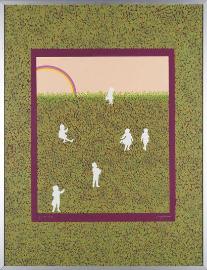Milvia MAGLIONE (née en 1934) Enfants Estampe. Epreuve d'artiste. Signé en bas à...