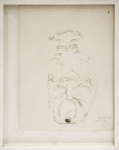 Olivier BRICE (né en 1933) Sans titre, 1972 Enfoncement et crayon sur carton. Signé,...