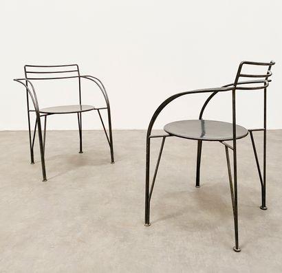 PASCAL MOURGUE(1943-2014) Paire de fauteuil modèle «Lune d'argent» Métal laqué Édition...