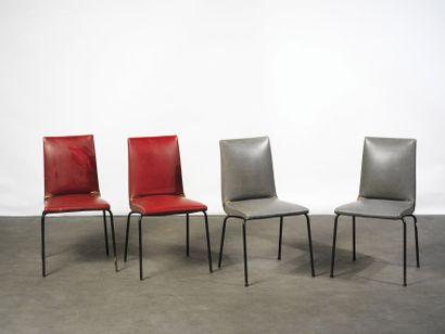 PIERRE PAULIN (1927-2009) Série de 4 chaises...