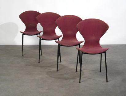 GENEVIÈVE DANGLES (NÉE EN 1929) & CHRISTIAN DEFRANCE (NÉ EN 1929) Série de 4 chaises...
