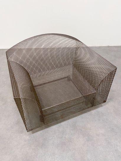 SHIRO KURAMATA(1934-1991) Fauteuil modèle « How high the moon » Résille de métal...