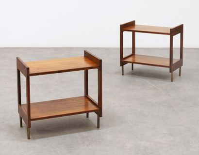 GRETE JALK (1920-2006) Pair of bedside tables Rosewood and metal Rosewood and metal...