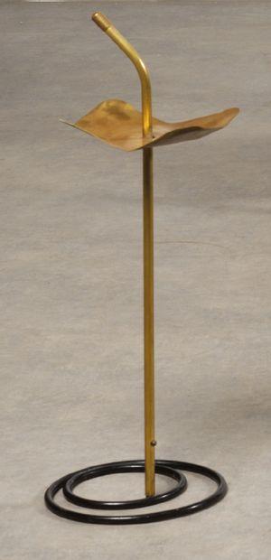 "Mathieu MATÉGOT (1910-2001) Ashtray model ""Pied de Fumeur"" Black and yellow lacquered..."