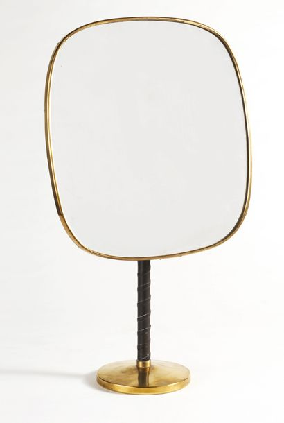 """TRAVAIL SCANDINAVE (XXe siècle) Adjustable mirror model """"futura"""" Leather, brass and..."""