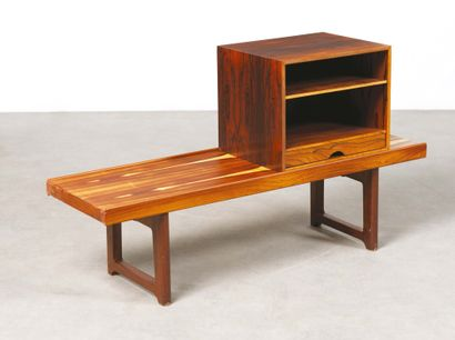 "Torbjørn Afdal (1917-1999) Bench model ""Krobo"" and ""LP box"" Rosewood Edition Bruksbo..."