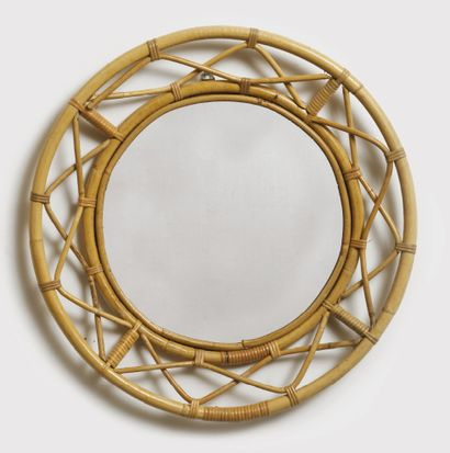 Josef Frank (1885-1967) Round mirror Bamboo, rattan and glass Bamboo, rattan and...