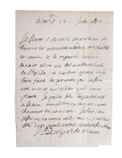 BOSSUET (Jacques-Bénigne). Lettre relative...