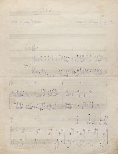 HENRI SAUGUET (1901-1989). Manuscrit autographe...