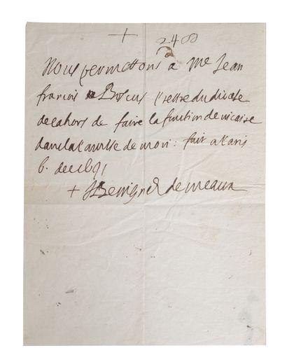 BOSSUET (Jacques-Bénigne). Attestation autographe...
